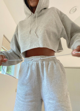 CALIstyle Never Take It Off Pullover Crop Hoodie In Heather Grey