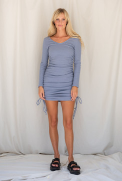 CALIstyle Weekends Off Ribbed Knit Dress In Slate Blue