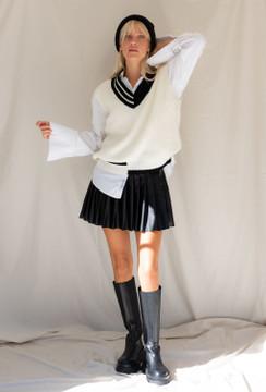 CALIstyle Nights In Paris Pleated Mini Skirt In Vegan Leather