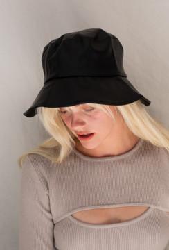 CALIstyle Jaydon Leather Bucket Hat In Black