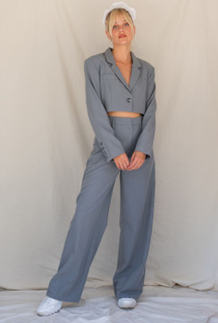 CALIstyle She's All That Blazer & Trouser Set In Grey