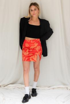 Motel Wren Skirt In Dragon Flower Red/Gold
