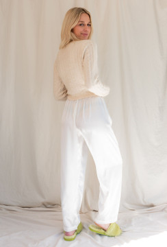 Vintage x Resurrection Repurposed Satin Crop Pant  In Ivory