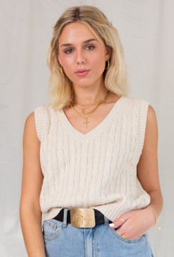 CALIstyle Living For The 90's Cable Knit Vest In Beige