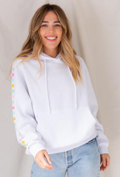 CALIstyle Check Me Out Hooded Sweatshirt In White