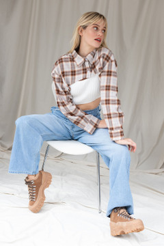 CALIstyle All Work No Play Micro Crop Flannel Shirt In Brown Plaid