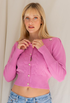 CALIstyle Feel Good Embroidered Cardigan In Orchid
