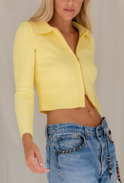 CALIstyle Citrus Knit Cardigan In Yellow - Restock