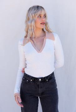 CALIstyle Fashion Girl Knit Polo Top In White/Taupe
