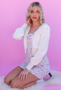 CALIstyle Current Obsession Embroidered Crop Cardigan In White/Lavender