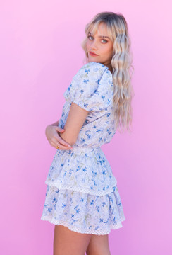 CALIstyle In Her Magic Ruffled Mini Dress In Blue Floral
