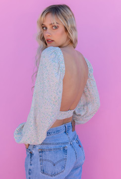 CALIstyle Backstage Top In Mint/Lavender Floral