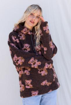 CALIstyle Teddy Sherpa Bear Hoodie In Brown Pink