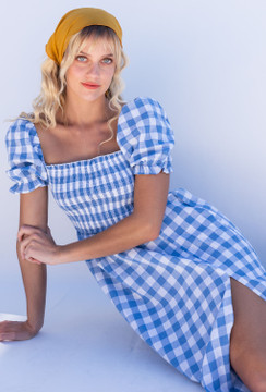 CALIstyle Spring Market Midi Dress In Blue/White Checked