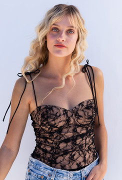 CALIstyle A Day In Paris Lace Bodysuit In Black