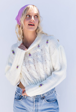 CALIstyle Spring In The Alps Embroidered Sweater Ivory
