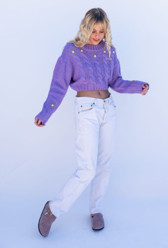 CALIstyle Spring In The Alps Embroidered Sweater In Lavender