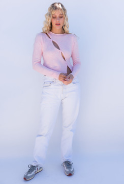 CALIstyle Nights Winter Crop Knit Top In Pink