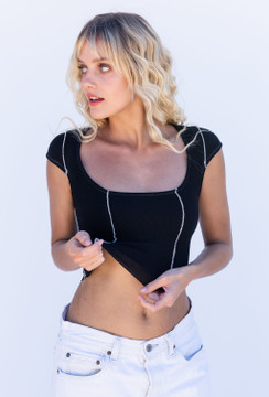 CALIstyle All Out Exposed Seam Crop Top In Black