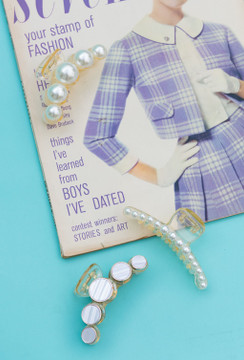 Channeling Chanel Hair Clip/Claw In Pearl Dainty