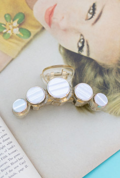 Channeling Chanel Hair Clip/Claw In Pearl Disc