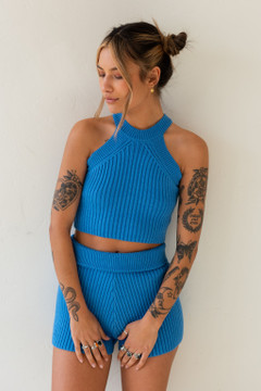 CALIstyle Sun Up  Knit Set In Royal Blue