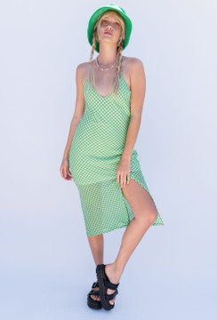 CALIstyle Central Park Checkered Midi Dress In Green