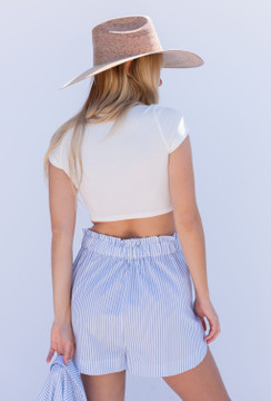 CALISTYLE Hideaway PJ Shorts In White/Blue Stripe