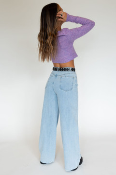 CALIstyle Blue Jean Baby Wide Leg Jeans In Light Denim