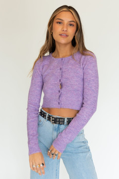 CALIstyle France In Spring Cardigan In Heathered Berry
