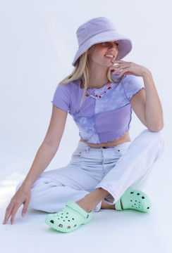 CALIstyle Stardust Exposed Seam Patchwork Crop Top In Lavender