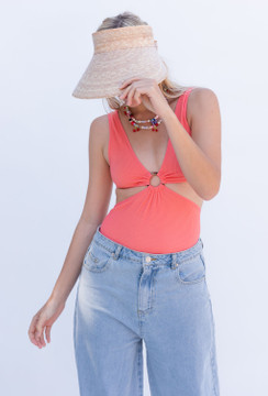 CALIstyle Look To The Sun Keyhole Bodysuit In Orange