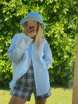 CALIstyle Not Your Boyfriends Oversized Shirt In Light Blue