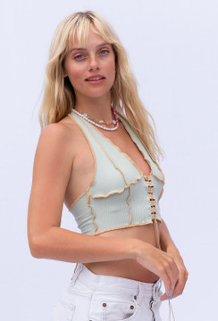 CALIstyle  Fool For You Crop Halter Top In Sage
