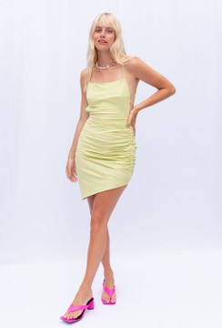 CALIstyle Crowd Pleaser Dress In Lime
