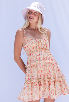 CALIstyle Golden Sunsets Baby Doll Dress In Floral Peach