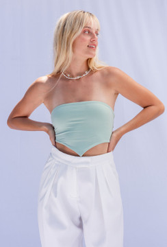 CALIstyle Easy Breezy Strapless Scarf Top In Sage