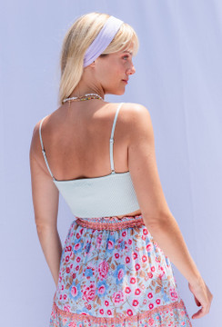 CALIstyle Coastal Breeze Crop Knit Corset Cami In Mint