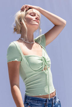 CALIstyle Honey Dew  Ruched Top In Mint