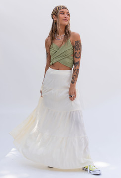 CALIstyle Riviera Maxi Skirt In Butter Cream - Restock