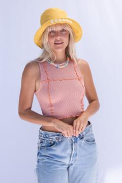 CALIstyle Desert Sun Exposed Seam Crop Top In Orange