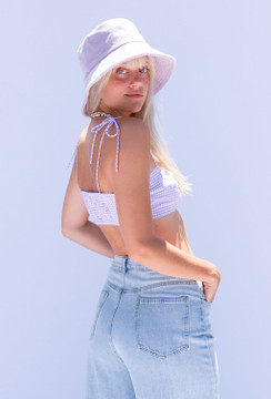 CALIstyle Check Me Out Bralette Crop Top In Checked Lavender