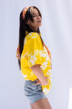 Vintage x Resurrection Hawaiian Oversized  Pullover Shirt In Yellow