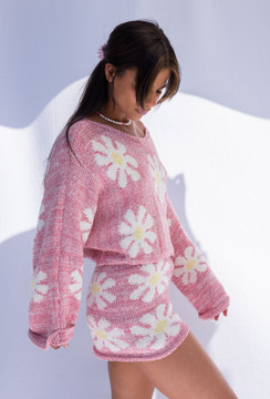 CALIstyle Up Your Game Knit Sweater In Pink Floral /PRE-ORDER