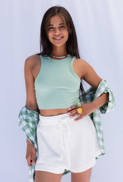 CALIstyle Take Me Away Knit Shorts In Ivory - BEST SELLER