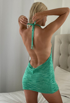 CALIstyle Slipping Away Knit Halter Mini Dress In Green
