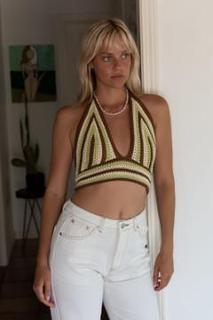 CALIstyle Shangra La Crochet Halter Crop Top In Brown/Cream