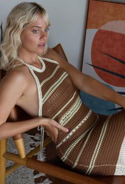 CALIstyle Madrid Crochet Mini Dress In Brown Multi