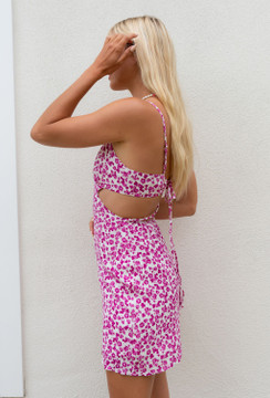 CALIstyle Peony Cut Out Mini Dress In White/Pink