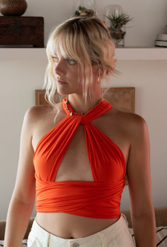 CALIstyle Endless Love Wrap Top In Orange